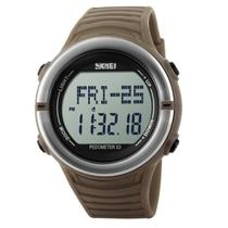 Relógio Pedômetro Masculino Skmei Digital 1111 Marrom e Prata -