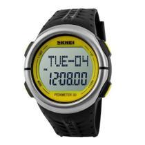 Relógio Pedômetro Unissex Skmei Digital 1058 - Preto e Amarelo -