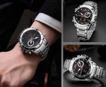 Relógio Prata Masculino Naviforce 9163 Digital/Analógico + Caixa Estojo em acrílico -