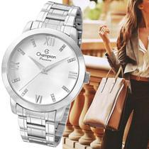 Relógio Prateado Champion Feminino Grande Original Cn29169q -
