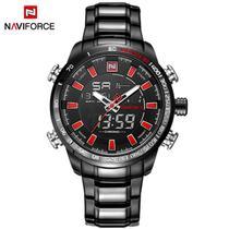 Relógio Preto Naviforce 9093 Analogico/Digital + caixa Estojo em acrílico -
