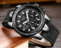 Relógio Pulseira de Couro Esportes , Data, Cronômetro Lige 9862 -