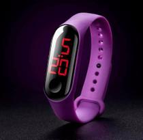 Relógio Pulseira Silicone Digital Led Sport Adulto Infantil Roxo Lilás M3 - DAF