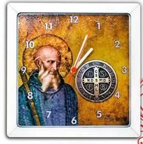 Relógio quadrado tema catolico religioso tema catolico religioso mdf 3mm são bento - Armazem