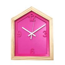 Relógio Rosa em Formato de Casa decoração Sala Cozinha - Az Design