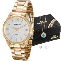 Relógio Seculus Feminino 20513LPSVDS1K1 + Colar e Brincos -