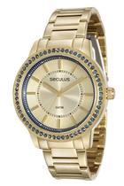 Relógio seculus feminino 28766lpsvds2 dourado pedras azuis -