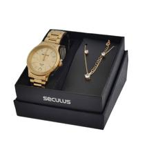 Relógio Seculus Feminino 28861LPSKDA1K2 Kit Cordão E Brincos -