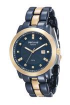 Relógio seculus feminino aço azul e dourado 20422lpsvla4 -