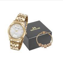 Relógio Seculus Feminino Analógico 28968LPSKDA1K2 + Pulseira -