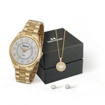 Relógio Seculus Feminino Analógico 77020LPSVDS1K + Colar e Brincos -