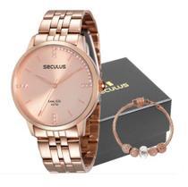 Relógio Seculus Feminino Analógico Rosê 28812LPSVRA2K1 + Pulseira -