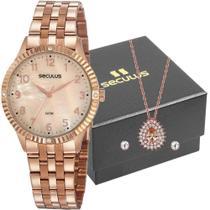 Relógio seculus feminino com colar e brincos 77047lpsvrs3k1 -