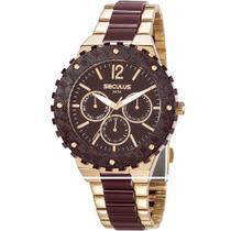 Relógio Seculus Feminino Dourada 20761LPSVDF2 Analógico 5 Atm Cristal Mineral Tamanho Grande -