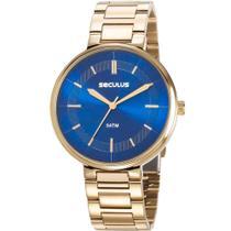 Relógio Seculus Feminino Dourada 23634LPSVDS1 Analógico 5 Atm Cristal Mineral Tamanho Grande -