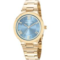 Relógio Seculus Feminino Dourada 77024LPSVDS1 Analógico 5 Atm Cristal Mineral Tamanho Grande -