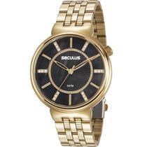 Relógio Seculus Feminino Dourado 20625LPSVDS1 Analógico 5 Atm Cristal Mineral Tamanho Grande -