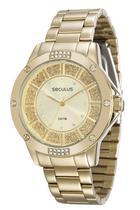 Relógio seculus feminino dourado 28734lpsvds1 -