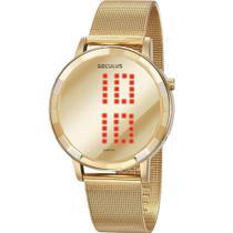 Relógio Seculus Feminino Dourado 77063LPSVDS1 Digital 3 Atm Cristal Mineral Tamanho Grande -