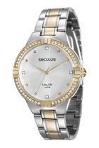 Relógio seculus feminino dourado bicolor 28817lpsvba2 -