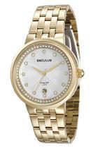 Relógio seculus feminino dourado calendário 23543lpsvda1 -