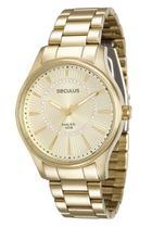 Relógio seculus feminino dourado cristais 28750lpsvda1 -