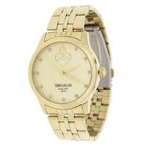Relógio Seculus Feminino Dourado e Colar Sagrado Coração 22039 -