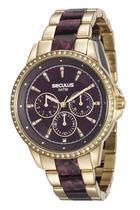 Relógio seculus feminino dourado e vinho 20476lpsvdf3 -
