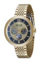 Relógio seculus feminino dourado fundo azul 20541lpsvds1 -