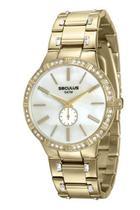 Relógio seculus feminino dourado fundo perolado 23579lpsvds1 -