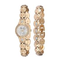 Relógio Seculus Feminino Dourado + Pulseira 20455LPSKDB1K1 -