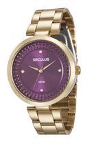 Relógio seculus feminino fundo vinho28849lpsvds2 -