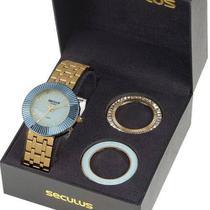 Relógio Seculus  Feminino  kit 03 aros 20598LPSVDS2 -