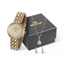 Relógio Seculus Feminino Ref: 13022lpsvds1 Dourado + Semijóia -