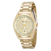 Relógio Seculus Feminino Ref: 20518lpsvda1 Social Dourado -