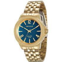 Relógio Seculus Feminino Ref: 28664lpsvda3 Casual Dourado -