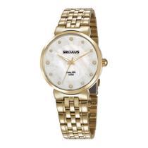 Relógio Seculus Feminino Ref: 28953lpsvda1 Social Dourado -
