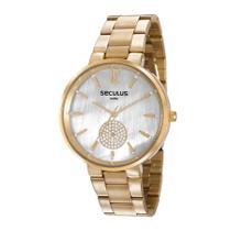 Relógio Seculus Feminino Ref: 77022lpsvds1 Casual Dourado -