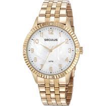 Relógio Seculus Feminino Ref: 77047lpsvds2 Fashion Dourado -