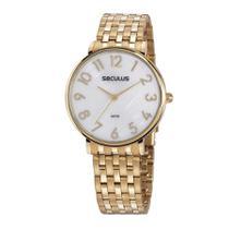 Relógio Seculus Feminino Ref: 77050lpsvds1 Social Dourado -