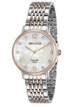 Relógio seculus feminino rosé e prata 28814lpsvga2 -