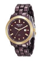 Relógio seculus feminino vinho de aço 20422lpsvma2 -
