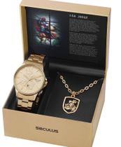 Relógio Seculus Kit São Jorge+ Medalhão 28933gpskda1k1 -