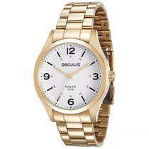 Relógio Seculus Masculino Analógico Dourado 28891gpsvda2 -