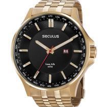 Relógio Seculus Masculino Analógico Dourado 77034gpsvda1 -