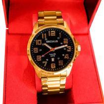 Relógio Seculus Masculino Analógico Dourado Aço Calendário 20807GPSVDA2 -