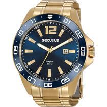 Relógio Seculus Masculino Analógico Dourado Long Life 20809GPSVDA2 -