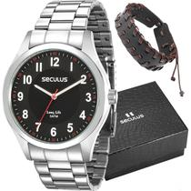 Relógio Seculus Masculino Analógico Prata 28888G0SVNA1K1 + Pulseira -