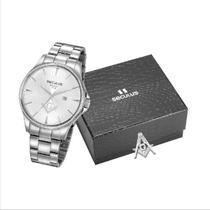 Relógio Seculus Masculino Analógico Prata 35012G0SVNA2K1 + Broche Maçonaria -