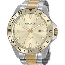Relógio Seculus Masculino Bicolor Long Life 20801GPSVBA1 Analógico 5 Atm Cristal Mineral -